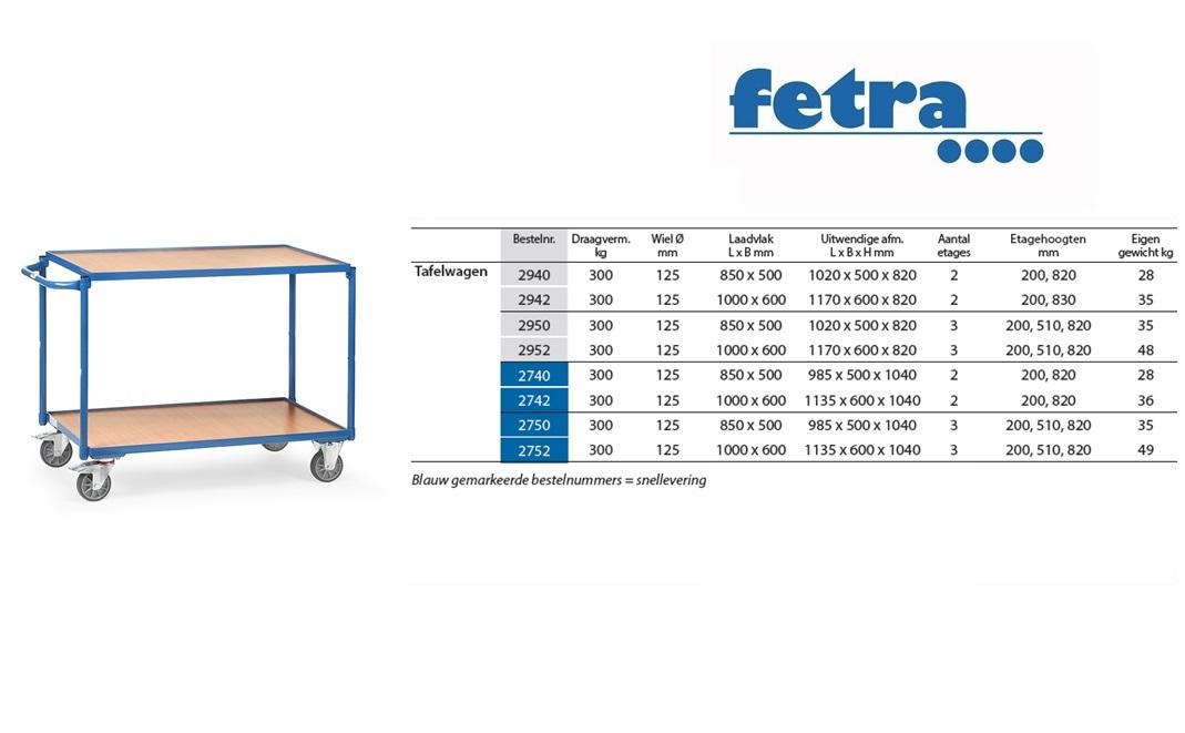 Tafelwagen 2940 Laadvlak 850 x 500 mm Fetra 2940