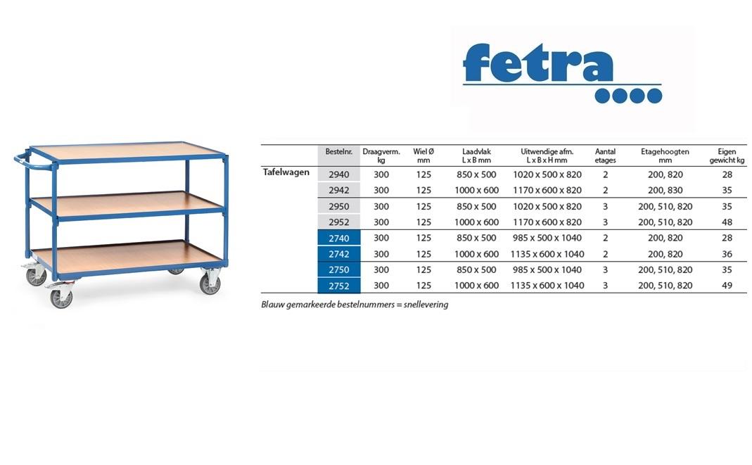 Tafelwagen 2950 Laadvlak 850 x 500 mm Fetra 2950