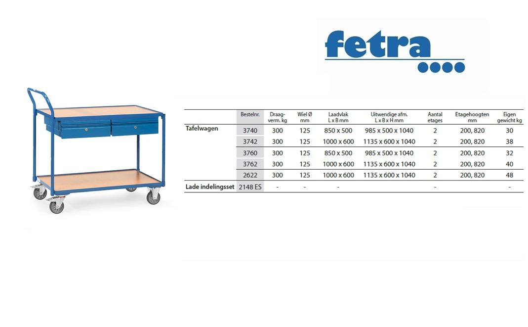Tafelwagen 2622 Laadvlak 1.000 x 600 mm Fetra 2622