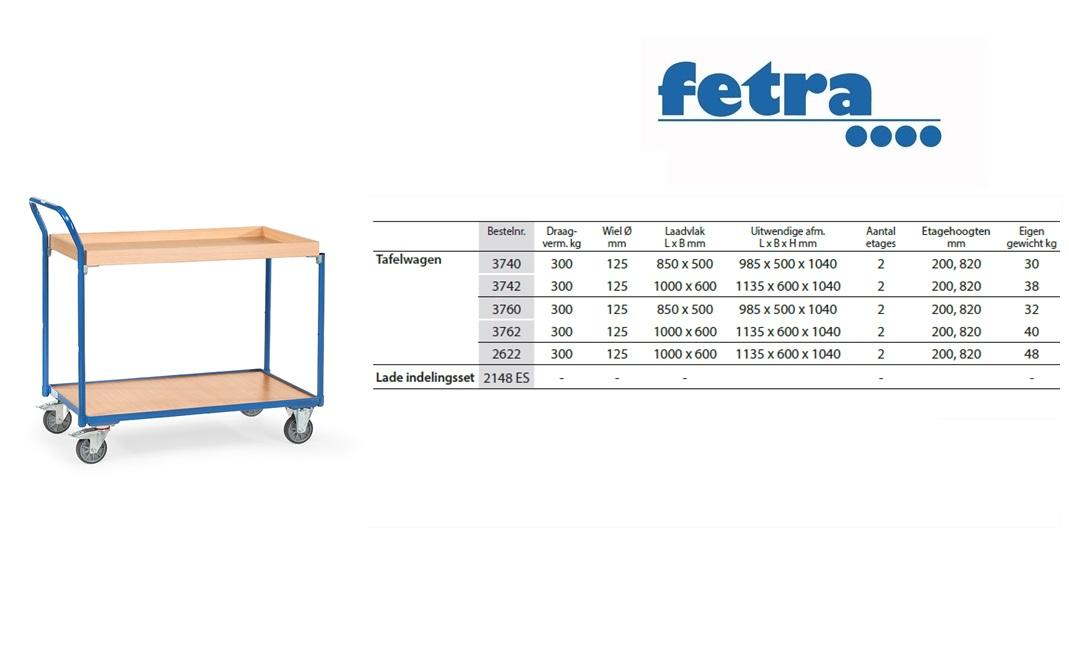 Tafelwagen 3740 Laadvlak 850 x 500 mm Fetra 3740