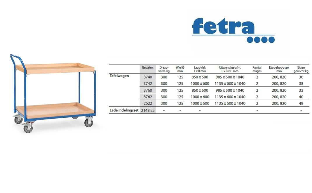 Tafelwagen 3760 Laadvlak 850 x 500 mm Fetra 3760