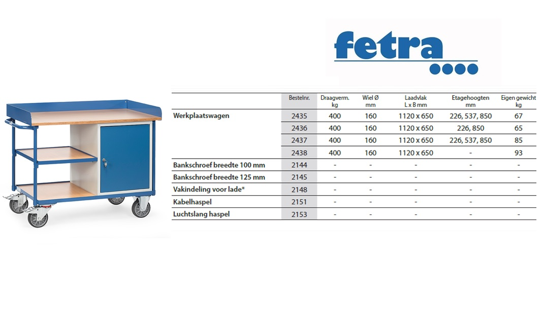 Werkplaatswagen 2435 Laadvlak 1.120 x 625 mm Fetra 2435