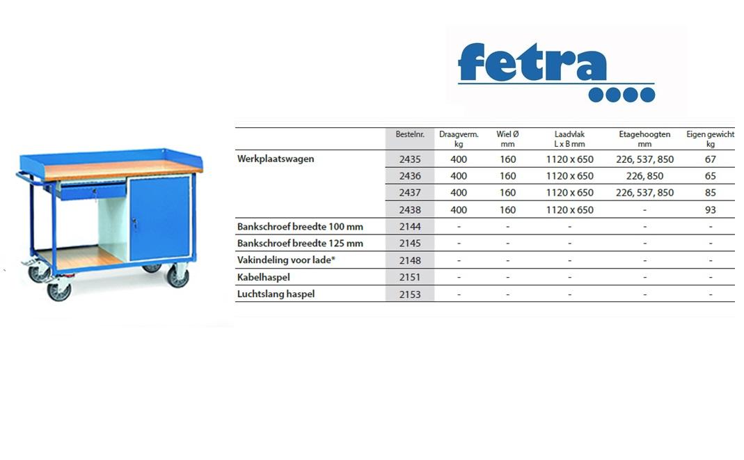 Werkplaatswagen 2436 Laadvlak 1.120 x 625 mm Fetra 2436