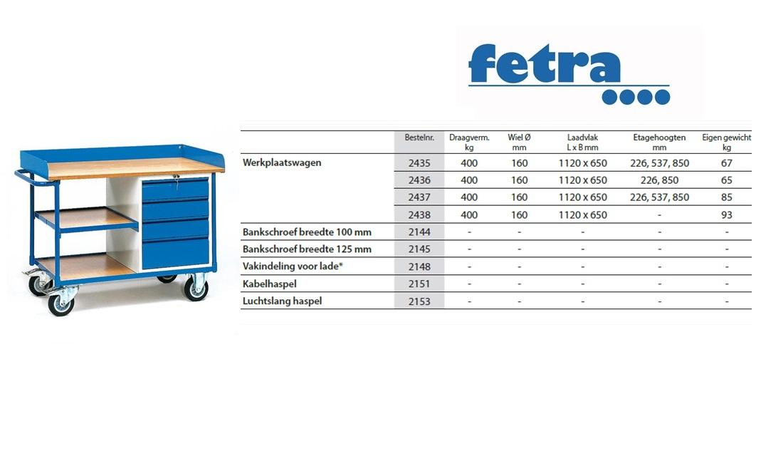 Werkplaatswagen 2437 Laadvlak 1.120 x 625 mm Fetra 2437