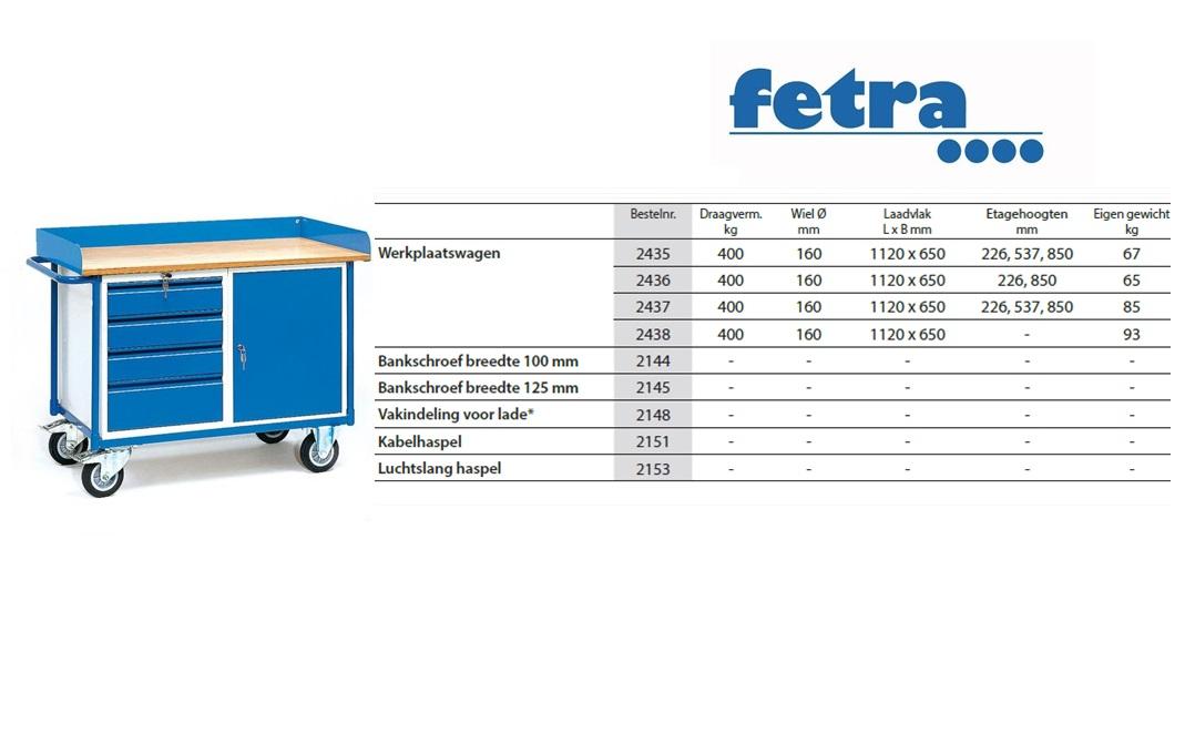 Werkplaatswagen 2438 Laadvlak 1.120 x 625 mm Fetra 2438