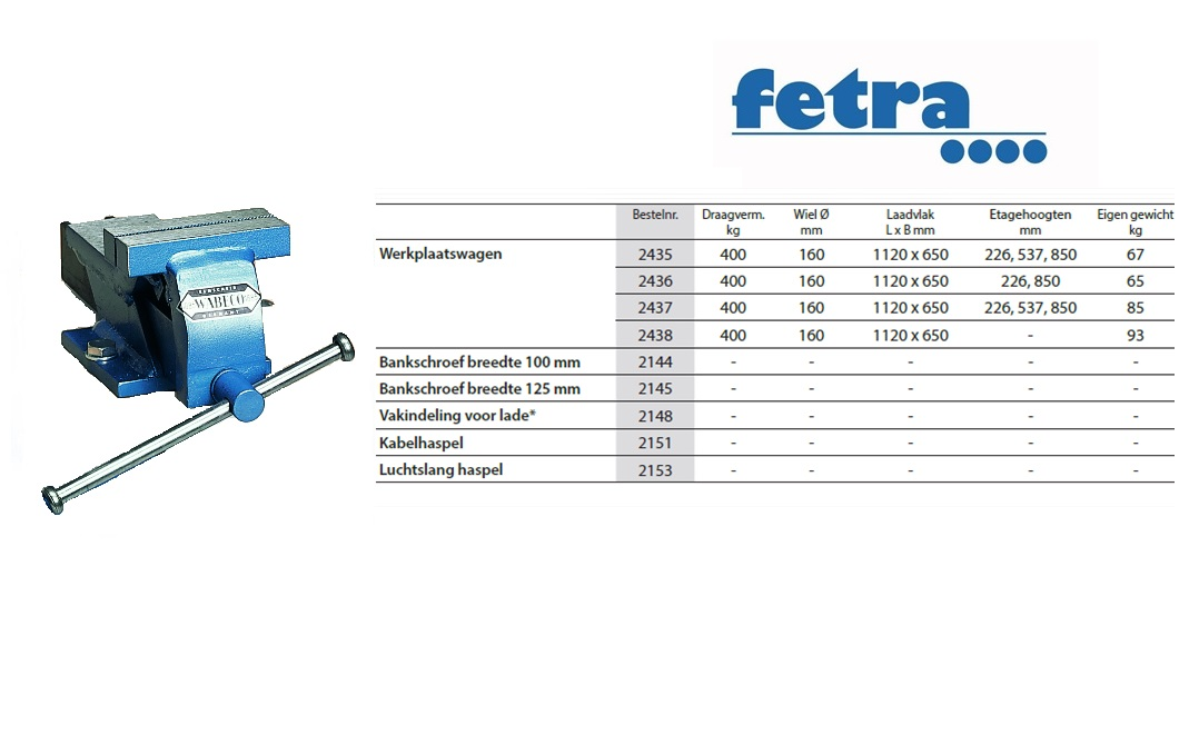 Extra voor werkplaatswagen: Bankschroef breedte 100 mm Fetra 2144