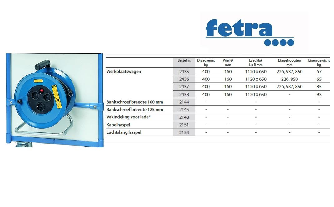 Extra voor tafelwagen 1050 x 600 Kabelhaspel incl.aanbouwset Fetra 2151/1