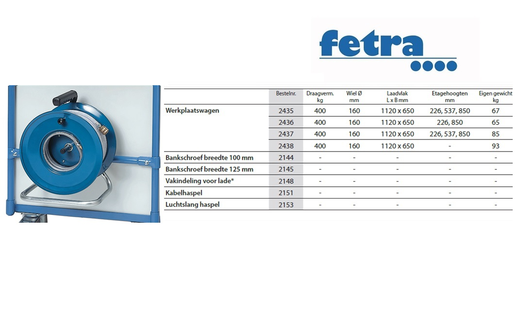 Extra voor tafelwagen 1050 x 600 Luchtslang haspel incl.aanbouwset Fetra 2153/1