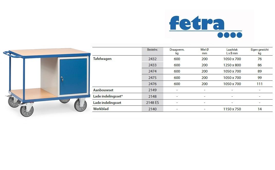 Zware werkplaatswagens 2432 Laadvlak 1.000 x 700 mm Fetra 2432