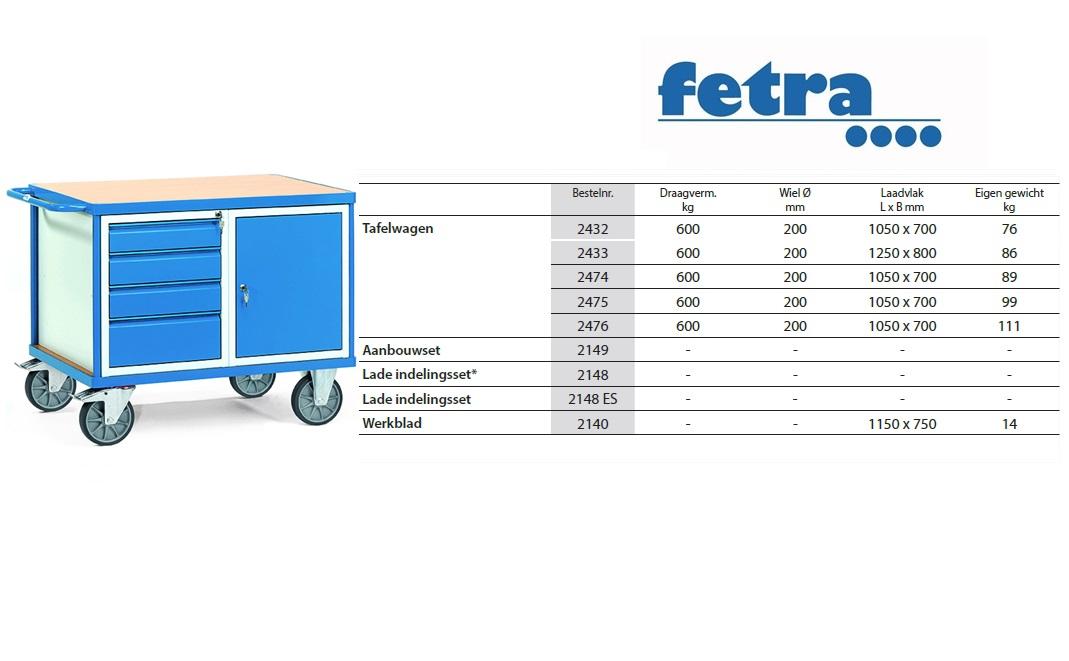 Zware werkplaatswagens 2476 Laadvlak 1.000 x 700 mm Fetra 2476