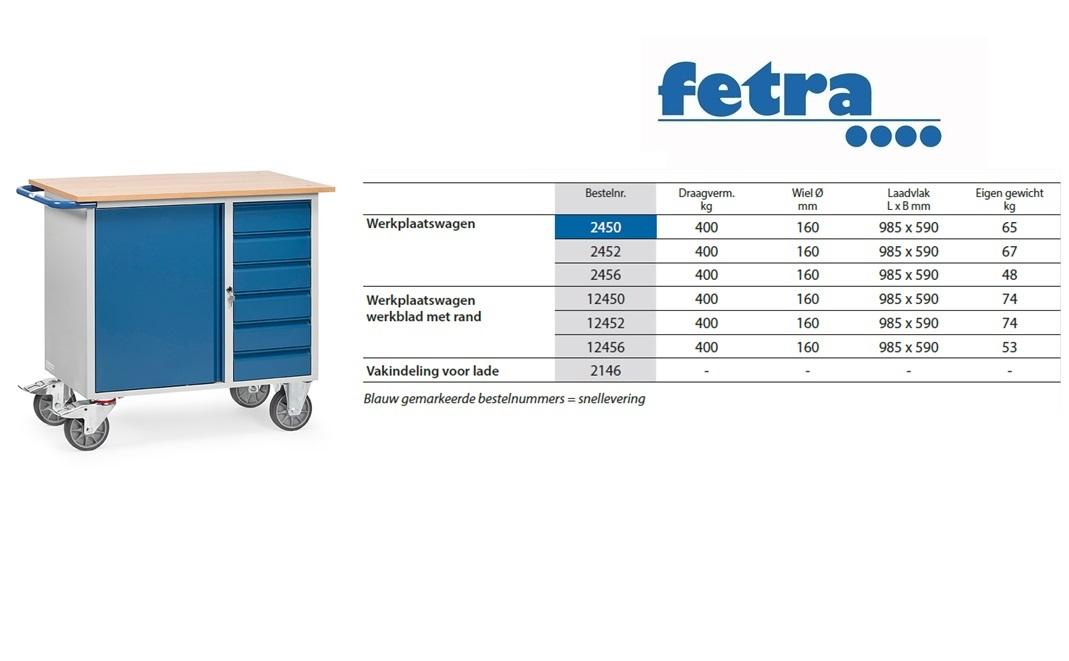 Werkplaatswagen 2450 Laadvlak 985 x 590 mm Fetra 2450