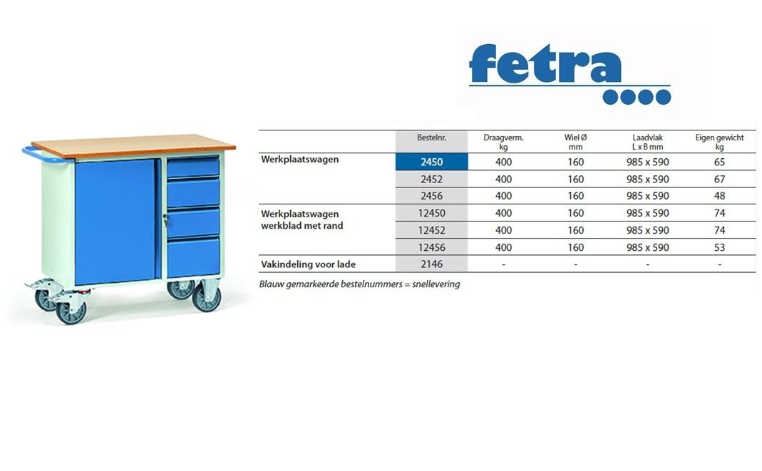 Werkplaatswagen 2452 Laadvlak 985 x 590 mm Fetra 2452