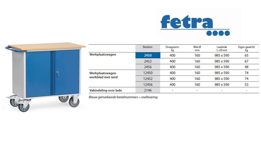 Werkplaatswagen 2456 Laadvlak 985 x 590 mm Fetra 2456