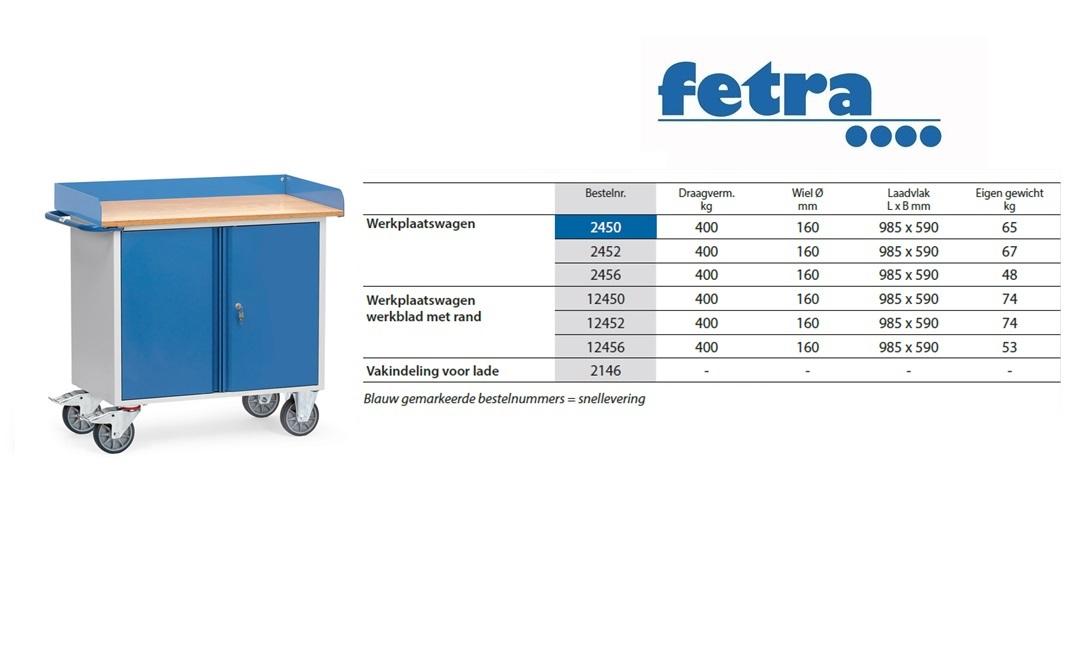 Werkplaatswagen 12456 Laadvlak 985 x 590 mm Fetra 12456
