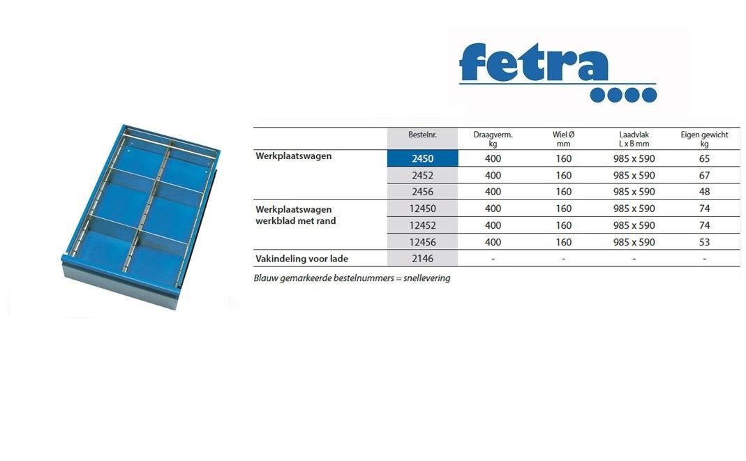 Extra voor werkplaatswagen 2450-12452: Vakindeling voor lade Fetra 2146
