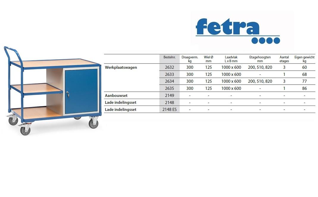 Lichte werkplaatswagens 2632 Laadvlak 1.000 x 600 mm Fetra 2632