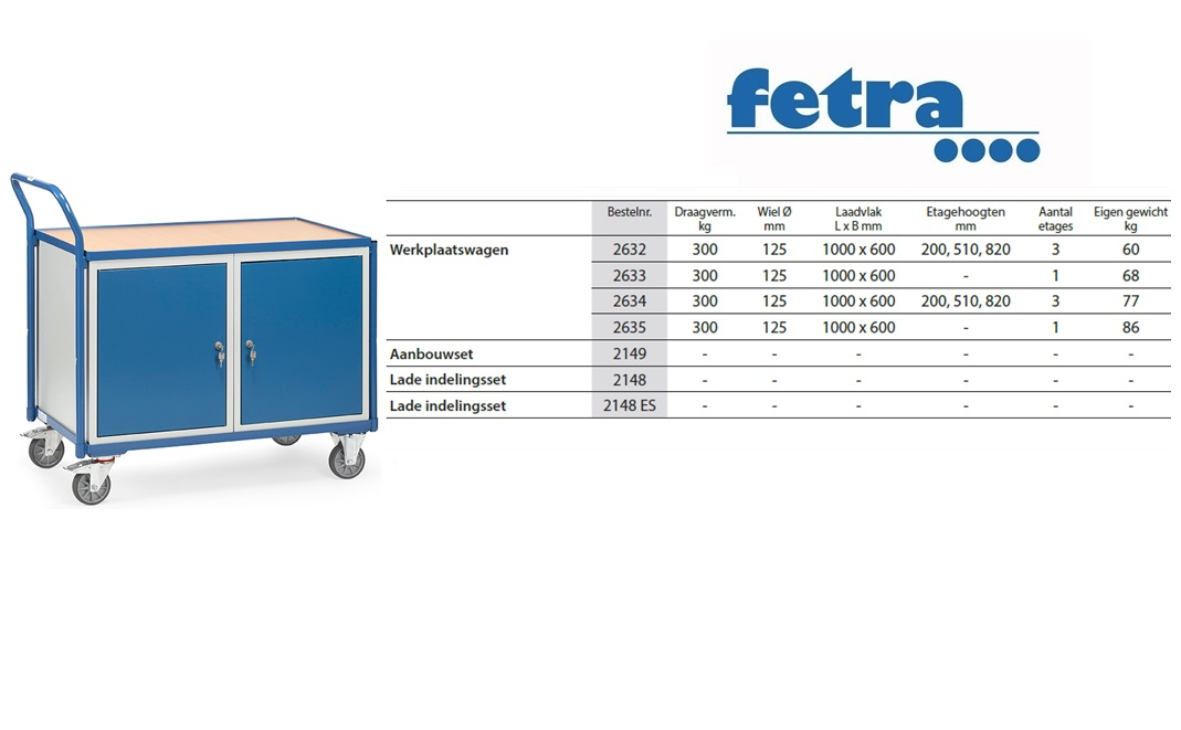 Lichte werkplaatswagens 2633 Laadvlak 1.000 x 600 mm Fetra 2633