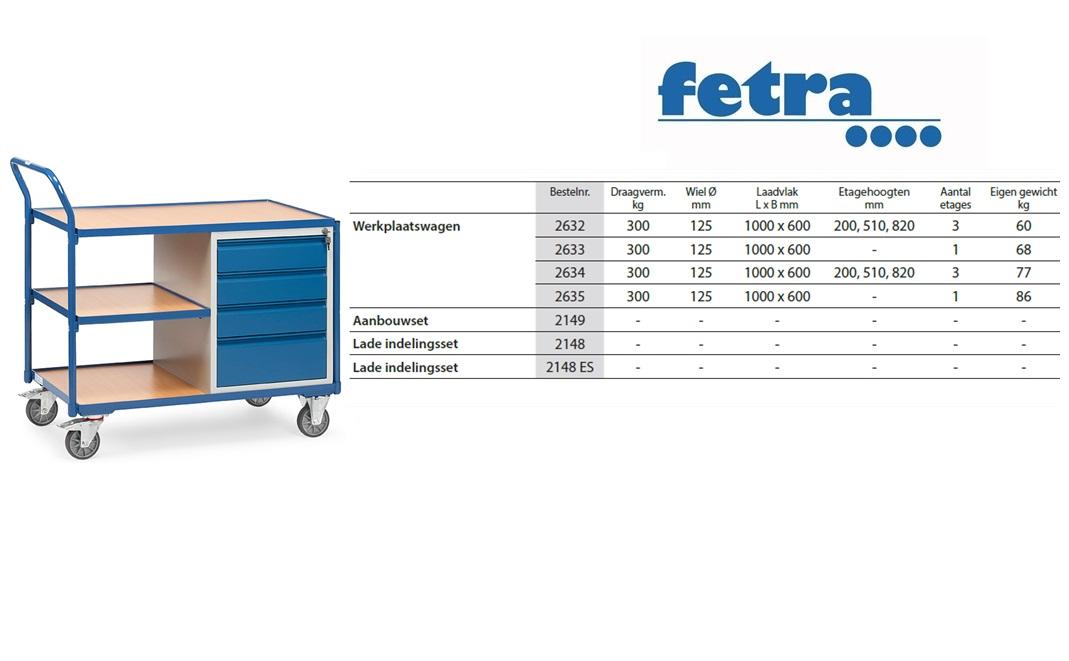 Lichte werkplaatswagens 2634 Laadvlak 1.000 x 600 mm Fetra 2634