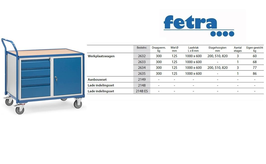 Lichte werkplaatswagens 2635 Laadvlak 1.000 x 600 mm Fetra 2635