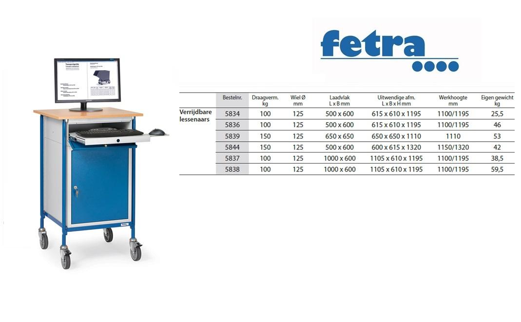 Verrijdbare lessenaar 5839 Laadvlak 500 x 600 mm Fetra 5839