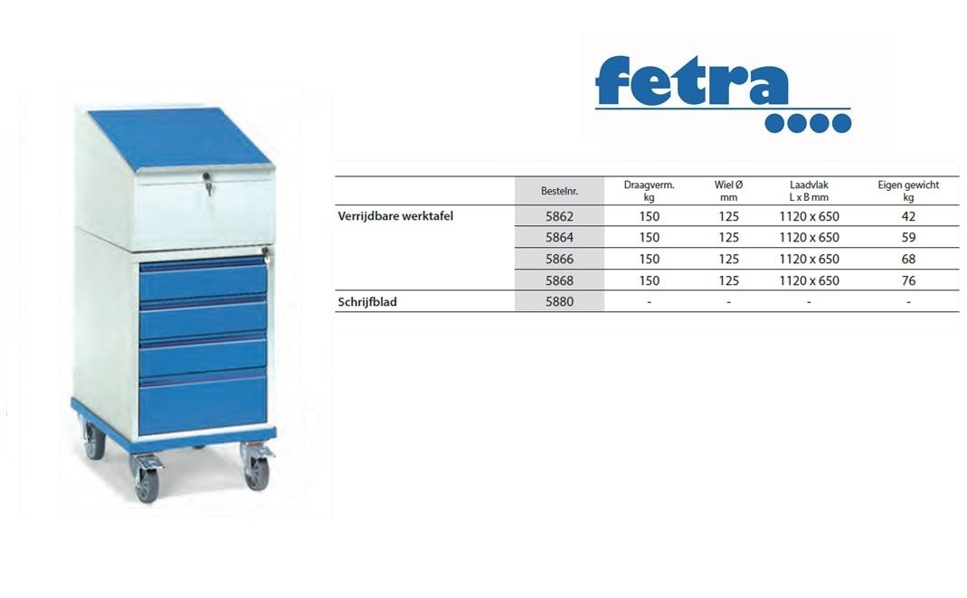 Verrijdbare lessenaar met schrijfblad 2449 (Onderbouw ladenkast) Fetra 24
