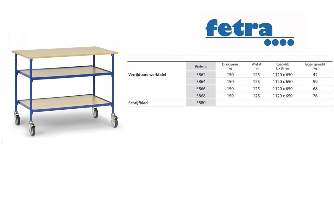Verrijdbare werktafel 5862 t.b.v. laadvlak 1.120 x 650 mm Fetra 5862