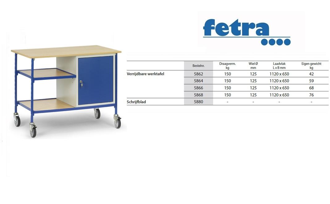 Verrijdbare werktafel 5864 t.b.v. laadvlak 1.120 x 650 mm Fetra 5864