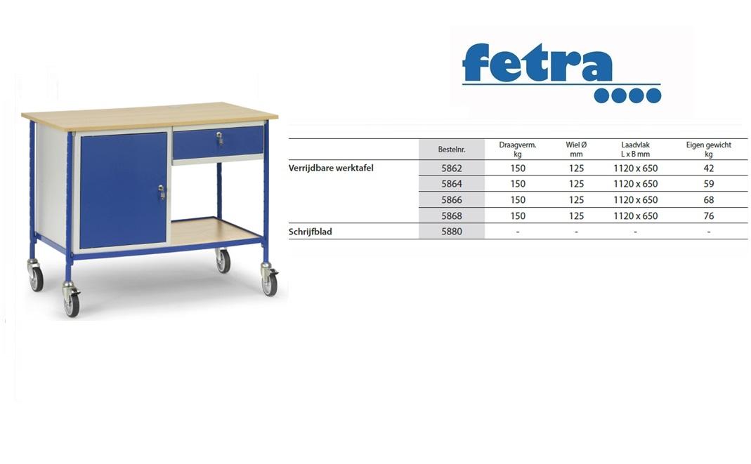 Verrijdbare werktafel 5866 t.b.v. laadvlak 1.120 x 650 mm Fetra 5866