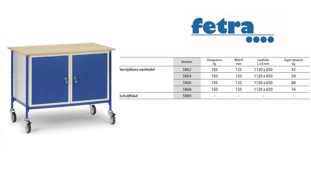 Verrijdbare werktafel 5868 t.b.v. laadvlak 1.120 x 650 mm Fetra 5868