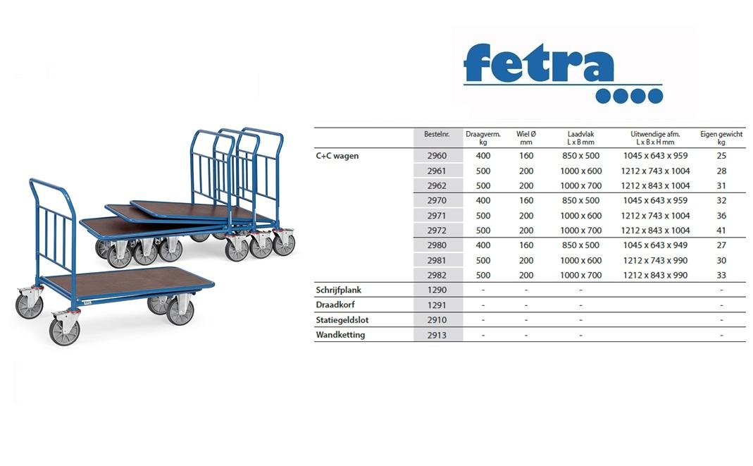C+C Wagen 2960 Laadvlak 850 x 500 mm Fetra 2960