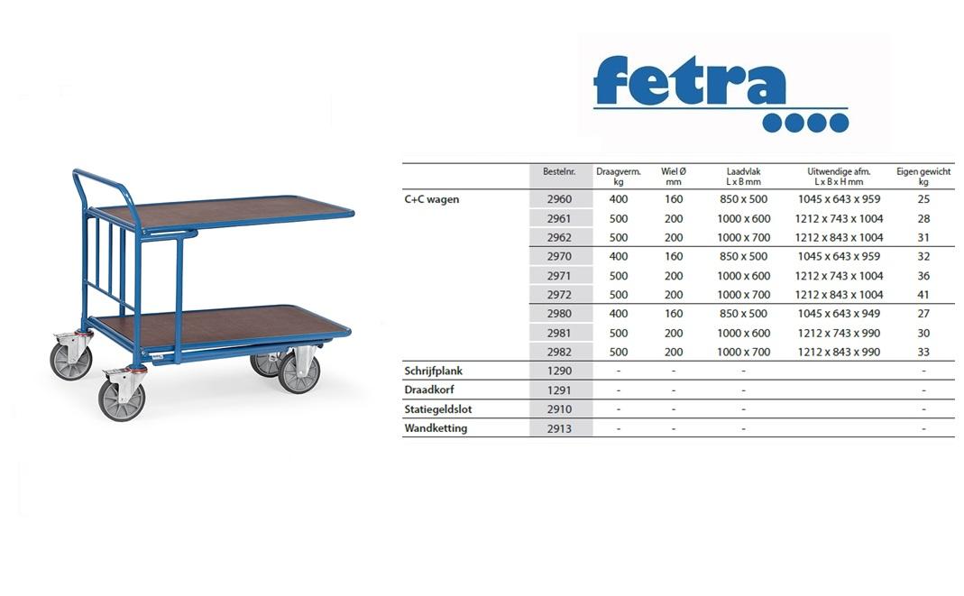 C+C Wagen 2970 Laadvlak 850 x 500 mm Fetra 2970