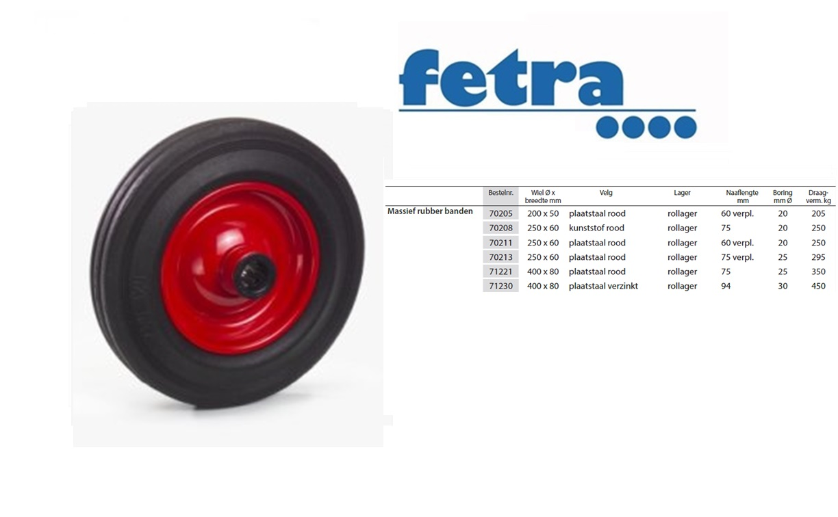 Massief Rubber Band 200 X 50 Mm Stalen Velg Rood Fetra