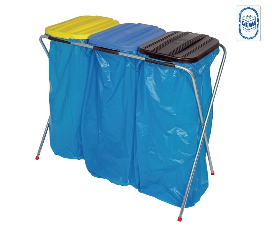 Afval sorteer systeem 3 x 70-120 geel/blauw/zwart 810x960x410 Werth AS2010