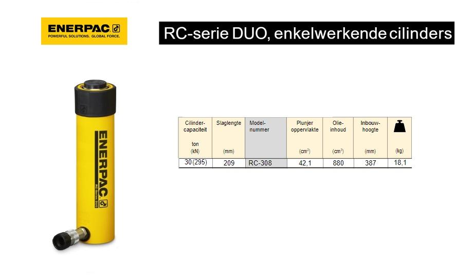 Enerpac RC308 Enkelwerkende universele cilinder