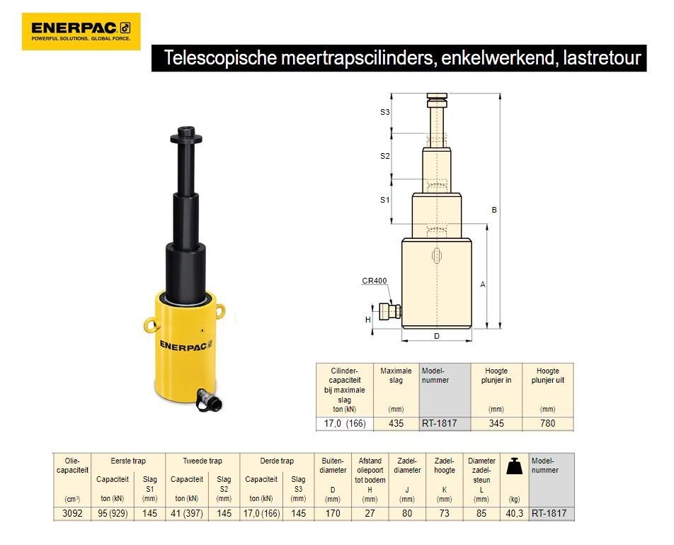 """Telescopische cilinder RT1817 18 TON 17"""" Drie traps"""