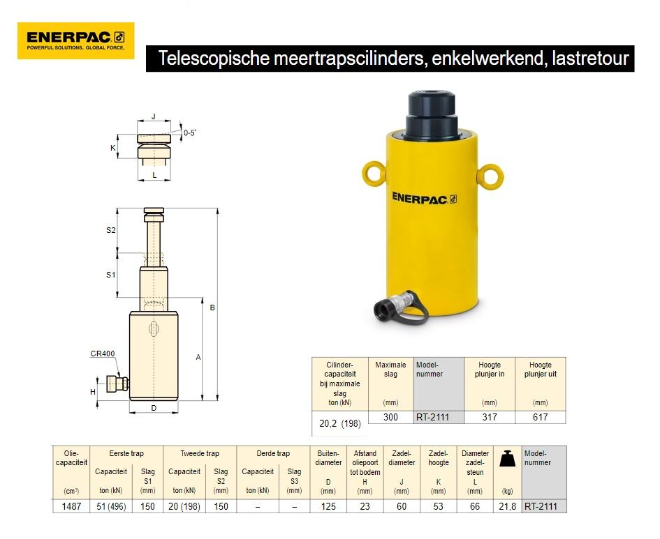 """Telescopische cilinder RT2111 21 TON 11"""" Twee traps"""