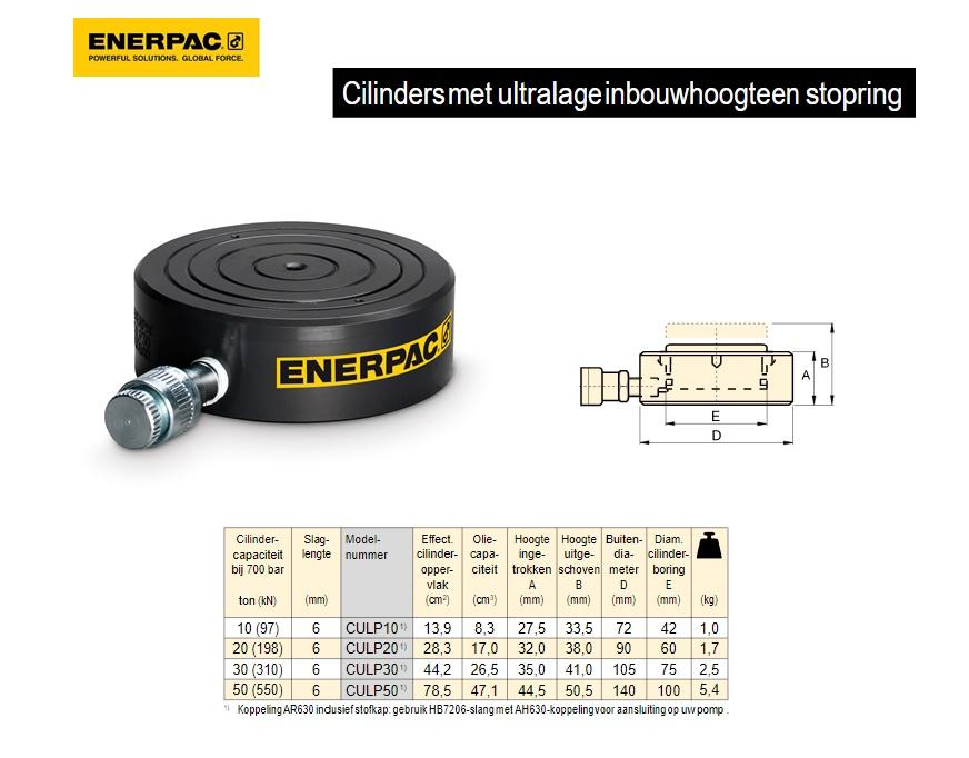 Ultralage Cilinder CULP 10 T met stopring