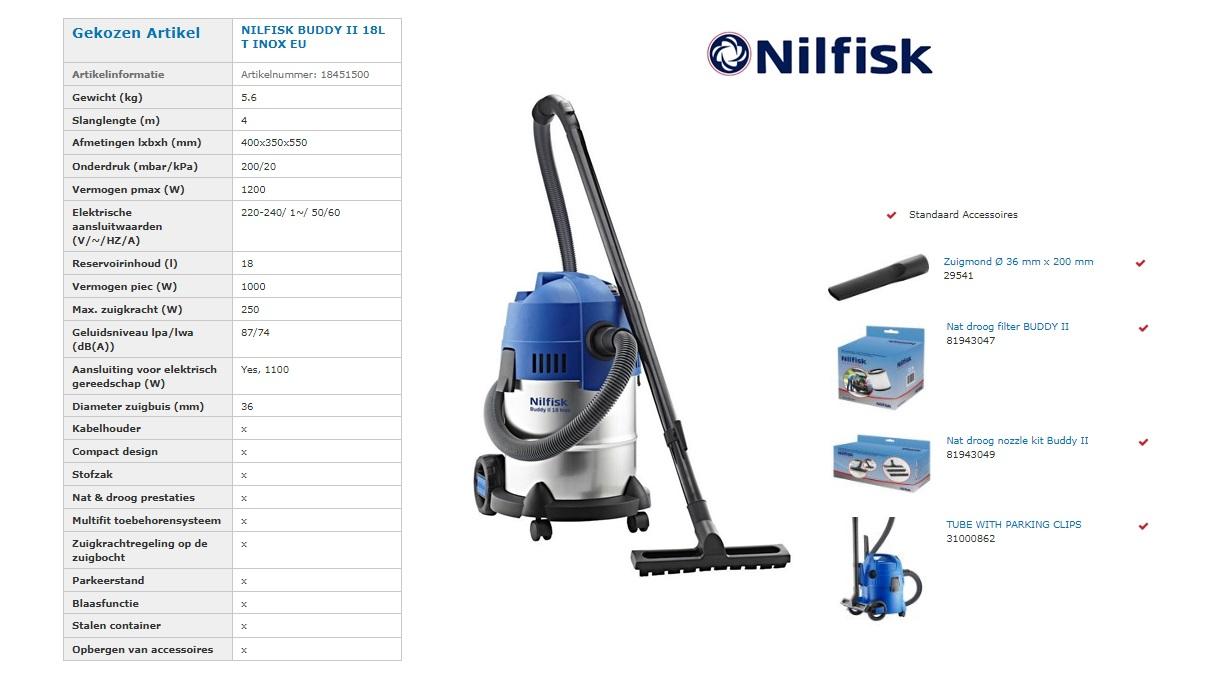 Nilfisk BUDDY 18 T INOX Stof- en Waterzuiger