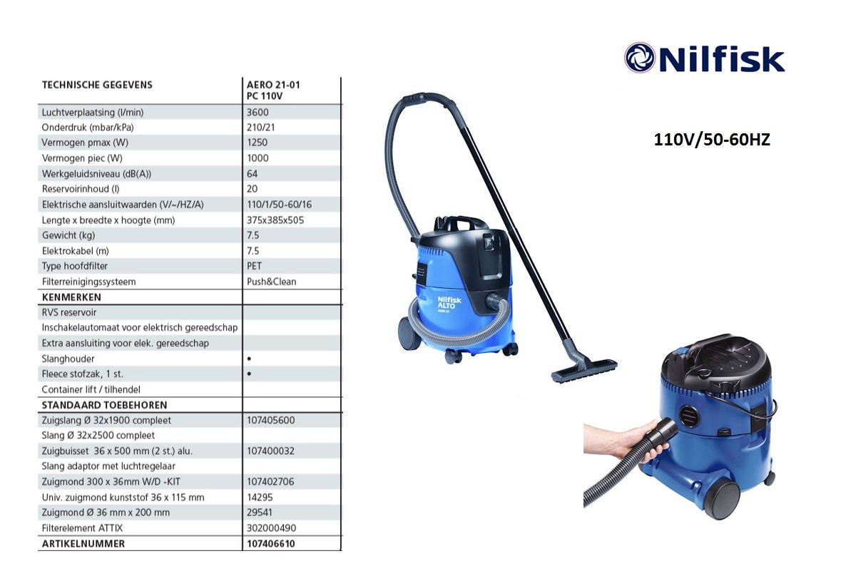 Nilfisk AERO 21-01 PC nat-droogzuiger 110V/50-60HZ