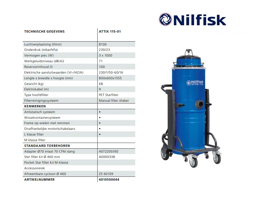 Nilfisk ATTIX 115-01 nat-droogzuiger