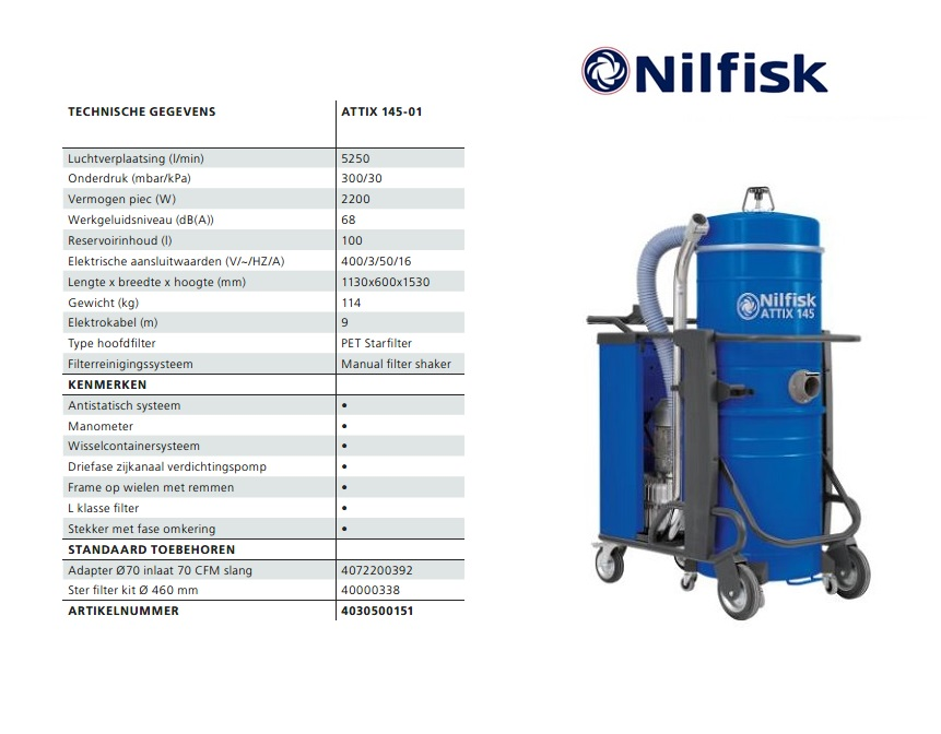 Nilfisk ATTIX 145-01 nat-droogzuiger