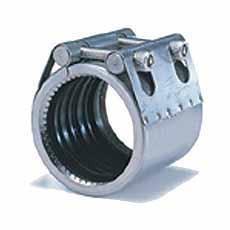 Pijpklem koppeling 25 - 33,7 RVS rubber sleeve NBR Grip type