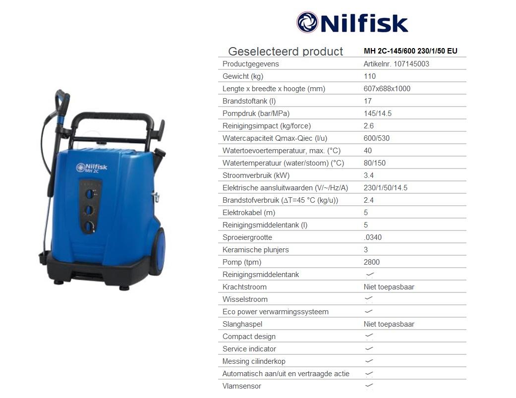 MH 2C-145/600 230/1/50 EU Warmwaterhogedrukreinigers oliegestookt W