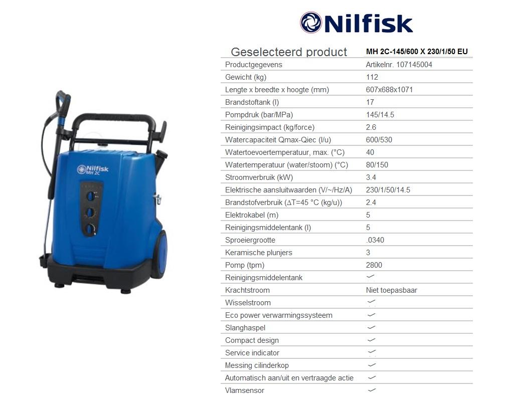 MH 2C-145/600 X 230/1/50 EU Warmwaterhogedrukreinigers oliegestookt W