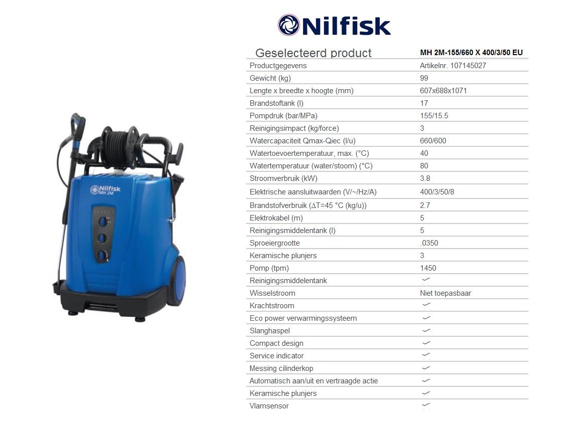 MH 2M-155/660 X 400/3/50 EU Warmwaterhogedrukreinigers oliegestookt - krachtstroom