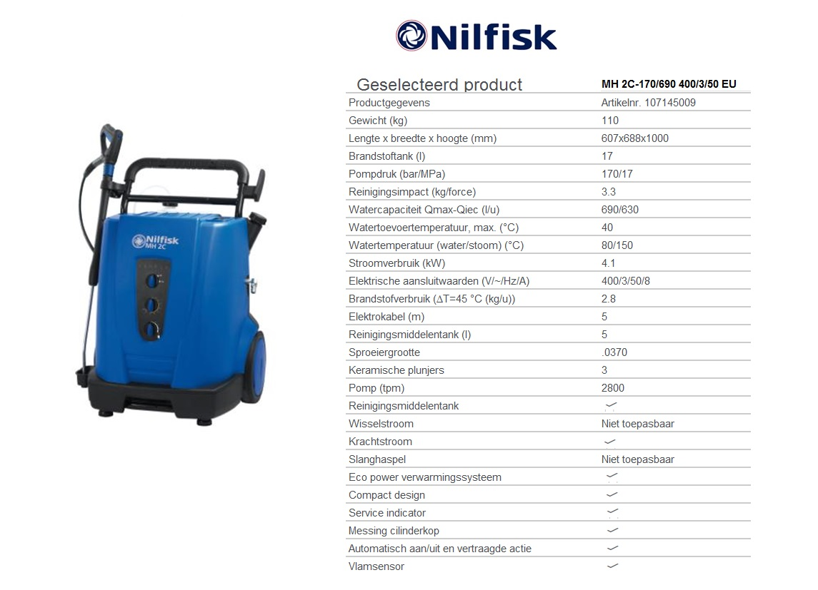 MH 2C-170/690 400/3/50 EU Warmwaterhogedrukreinigers oliegestookt - krachtstroom