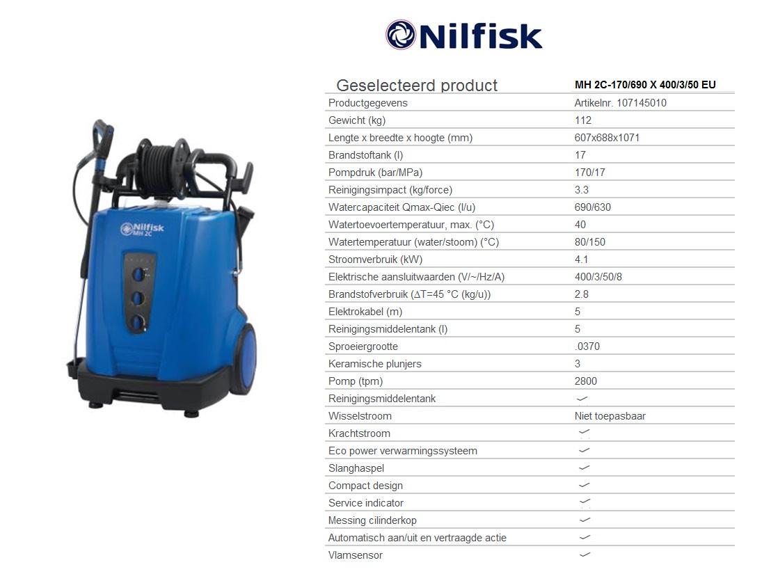 MH 2C-170/690 X 400/3/50 EU Warmwaterhogedrukreinigers oliegestookt - krachtstroom