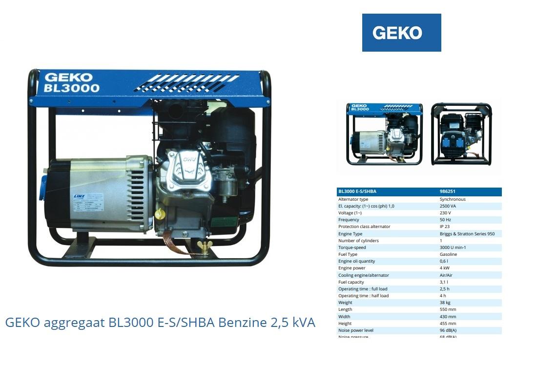 GEKO aggregaat BL3000 E-S/SHBA Benzine 2,5 kVA