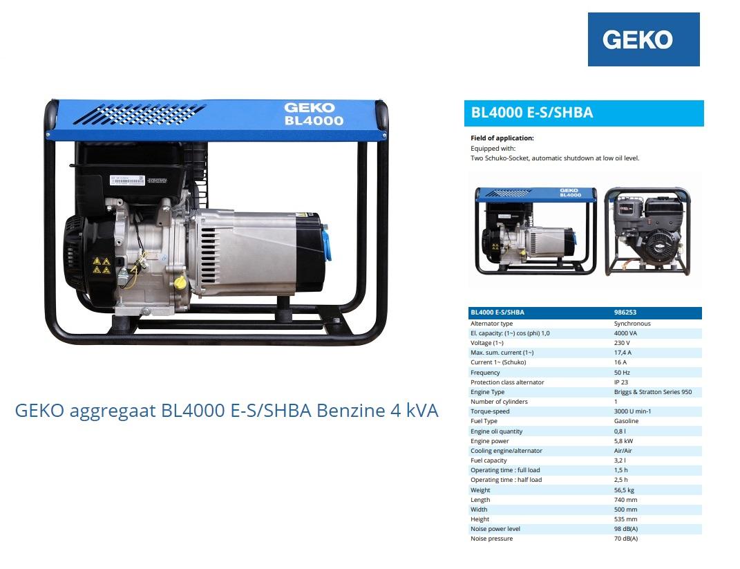 GEKO aggregaat BL4000 E-S/SHBA Benzine 4,0 kVA