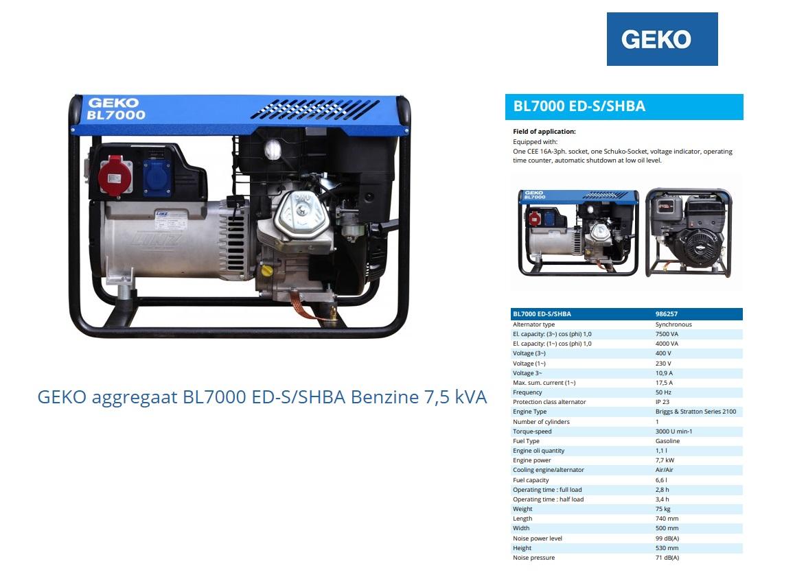 GEKO aggregaat BL7000 ED-S/SHBA Benzine 7,5 kVA